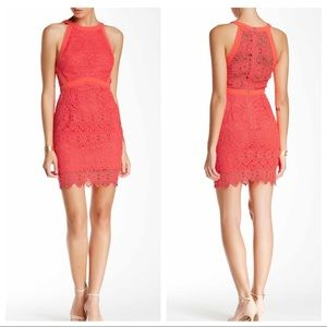 ASTR Neon Coral Pink Lace Halter Bodycon Dress S M